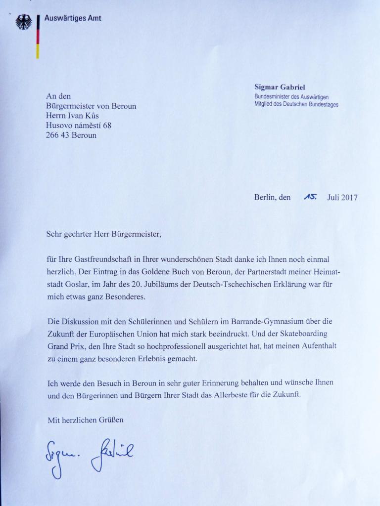 Na ministra zahraničních věcí SRN Beroun zapůsobil 1